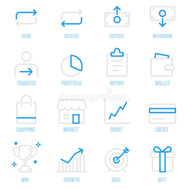Ensemble financier d'icône de vecteur de paiement de transaction d'argent illustration stock