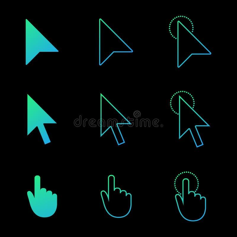 Ensemble, flèche et main d'icône de curseur de souris dans le style moderne de gradient icônes de Web de clic et de lien Illustra illustration de vecteur