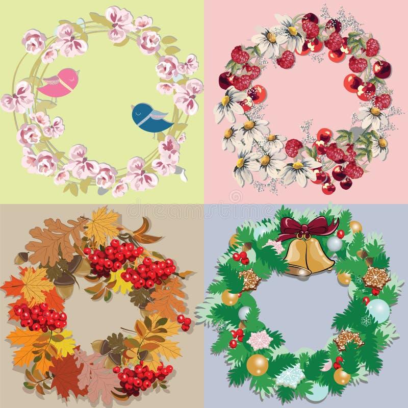 Ensemble floral avec des décorations d'aquarelle illustration libre de droits