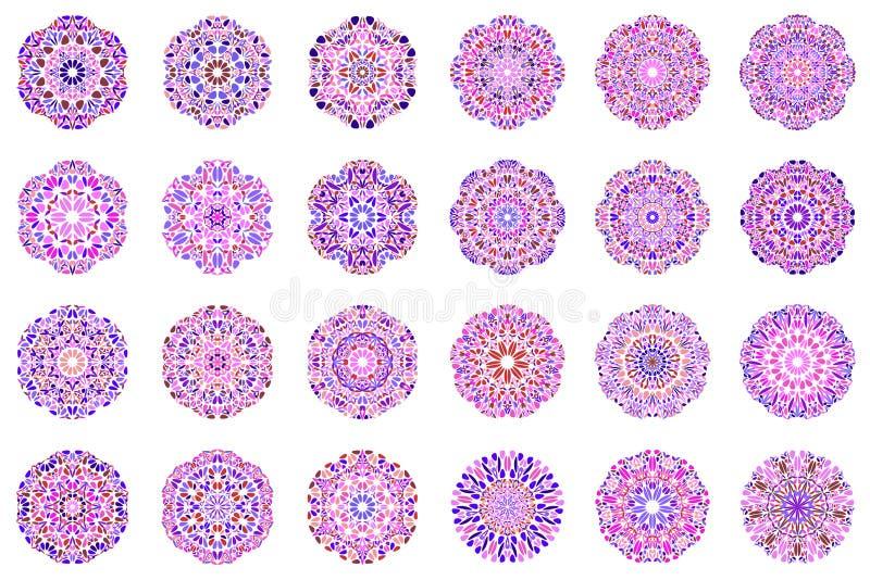 Ensemble floral coloré de conception de logo de mandala de résumé illustration stock