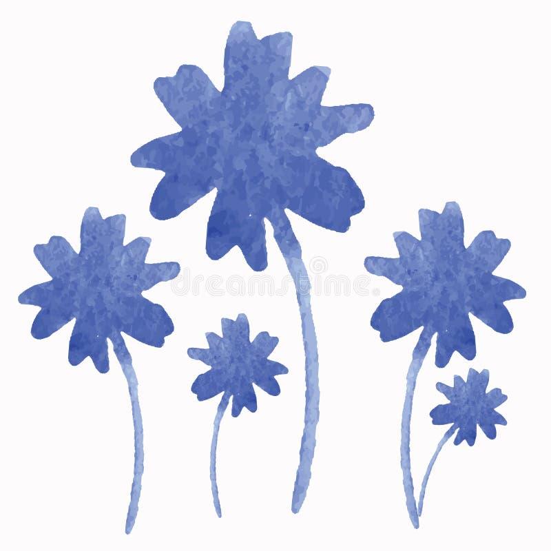 Ensemble floral d'aquarelle d'isolement sur le blanc illustration stock