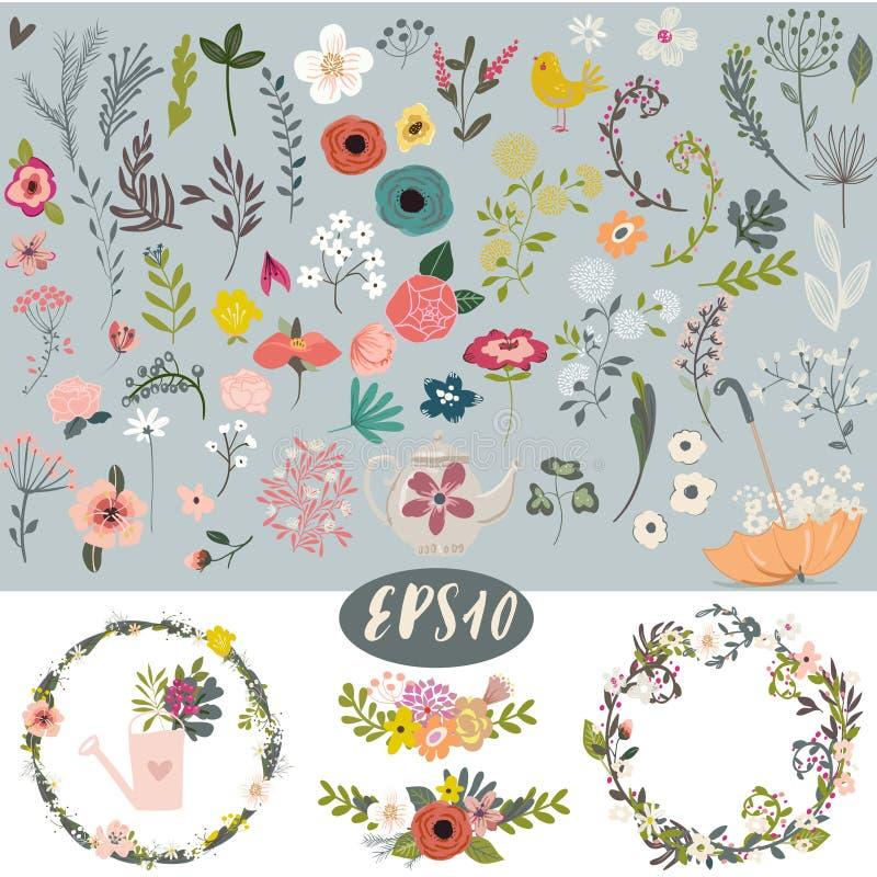 Ensemble floral de griffonnage de vintage illustration libre de droits