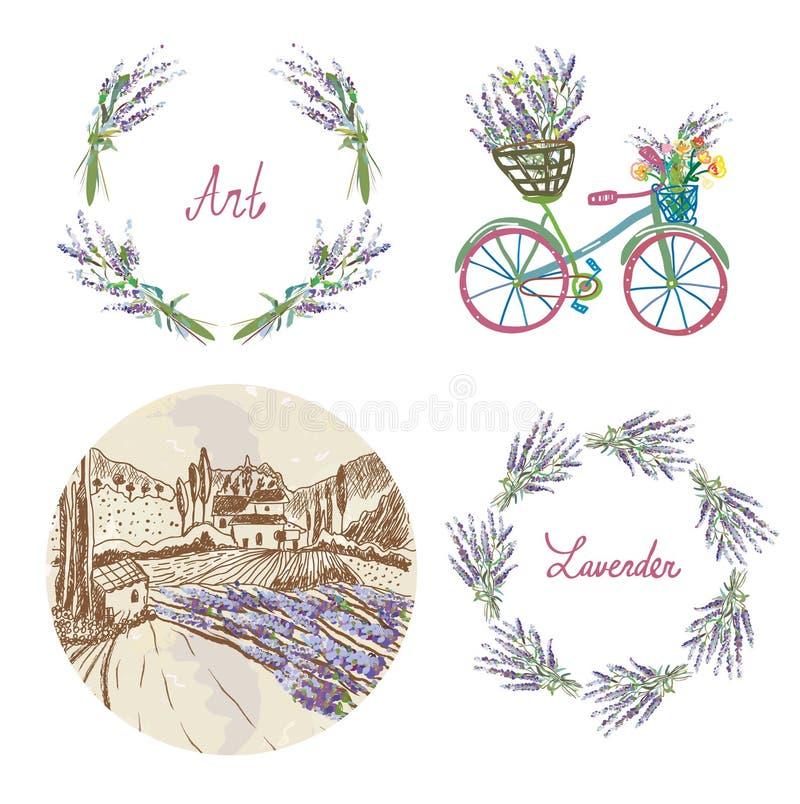 Ensemble floral de lavande pour le label, l'insigne ou le Web illustration stock