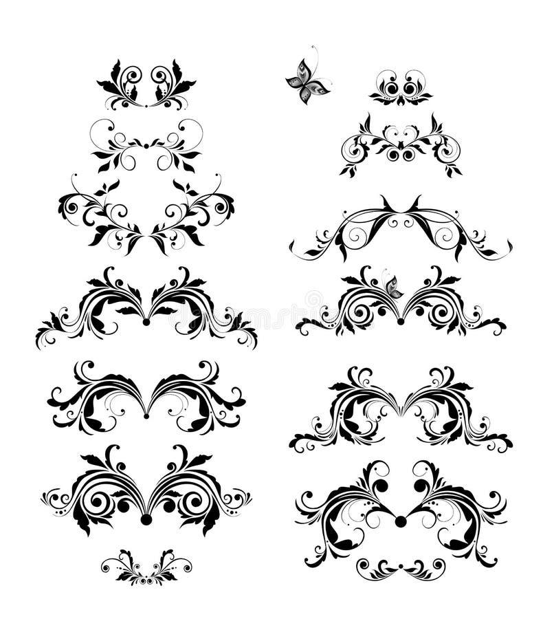 Ensemble floral de vecteur d'en-t?tes de cru R?tro conception noire et blanche illustration de vecteur
