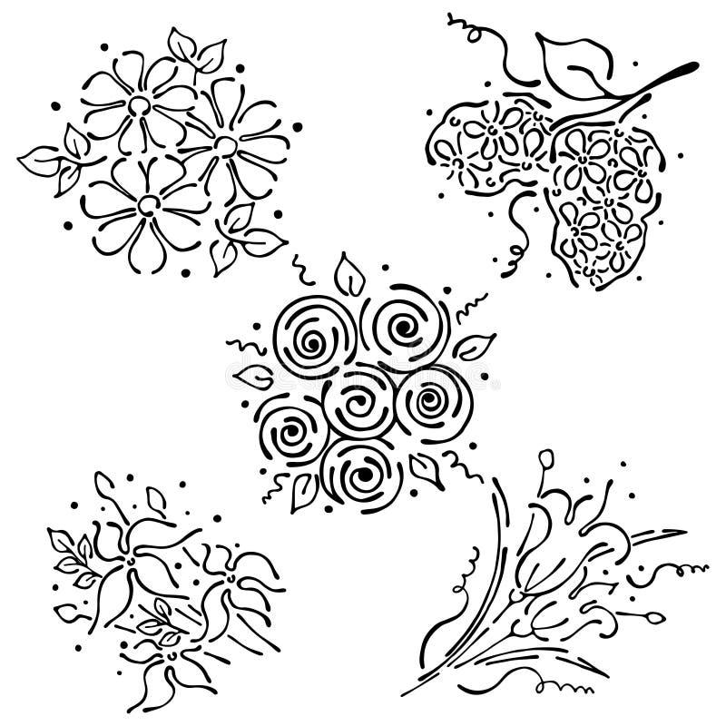 Ensemble floral de vecteur, illustration graphique Fleurs avec des feuilles d'isolement sur le fond blanc Courbes de niveau et co illustration stock