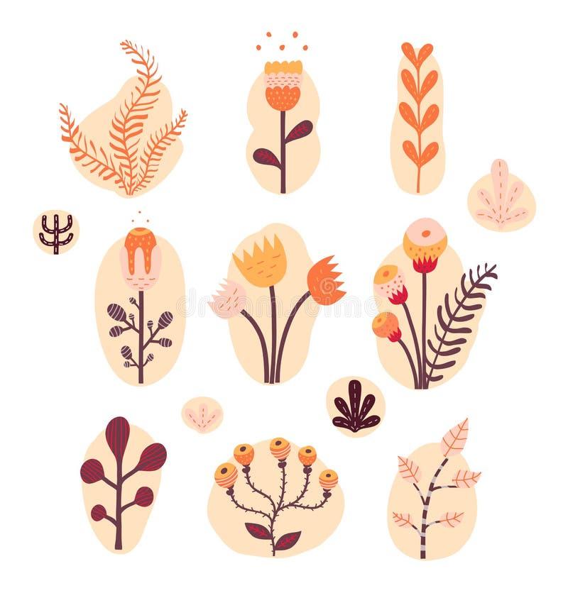 Ensemble floral de vintage illustration stock