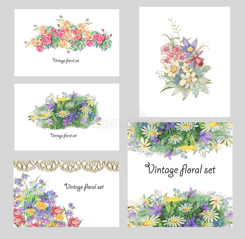 Ensemble floral de vintage illustration libre de droits