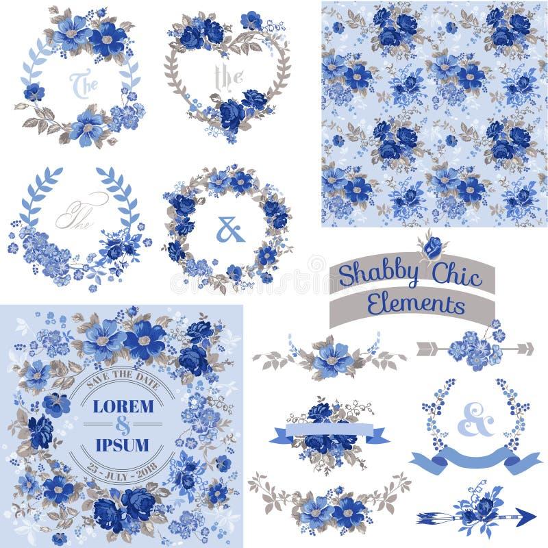 Ensemble floral de vintage - cadres, rubans, milieux illustration de vecteur