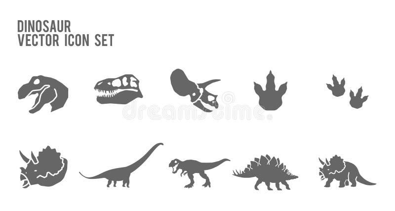 Ensemble fossile squelettique d'icône de vecteur de dinosaure illustration stock