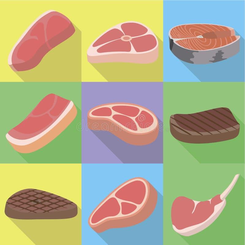 Ensemble frais d'icône de bifteck, style plat illustration stock