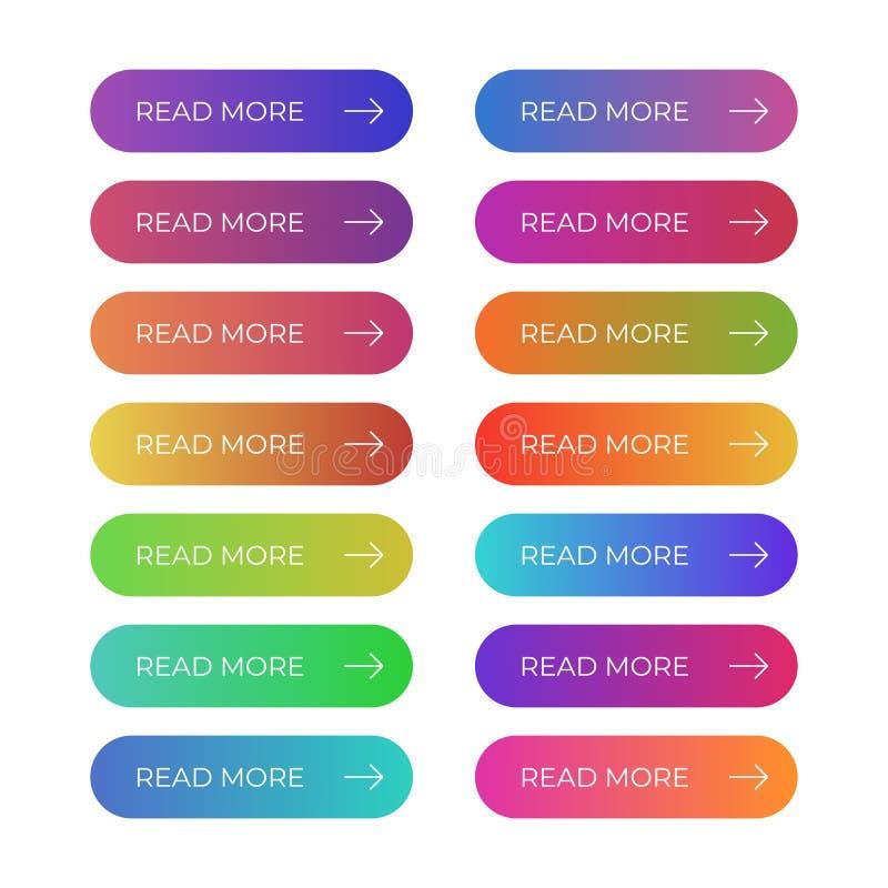 Ensemble frais de boutons colorés de vecteur pour le site Web illustration de vecteur