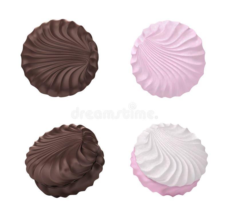 Ensemble frais et délicieux de guimauve Guimauves en chocolat Éléments de conception pour l'emballage de guimauve illustration de vecteur