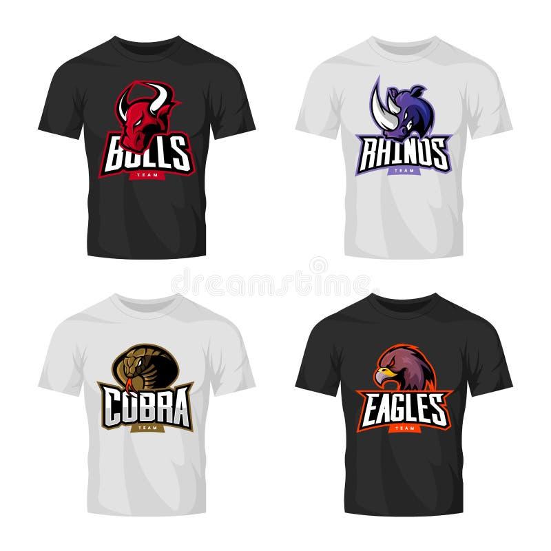 Ensemble furieux de concept de logo de vecteur de sport de rhinocéros, de taureau, d'aigle et de serpent d'isolement sur la maque illustration de vecteur