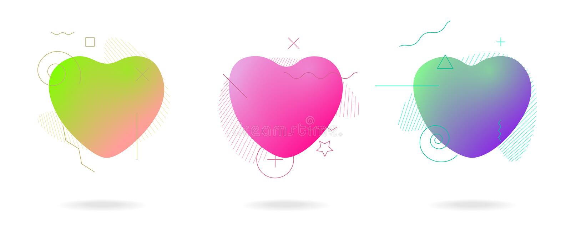 Ensemble géométrique abstrait de formes de coeur d'amour de forme de couleur liquide Bannières colorées abstraites en plastique m illustration libre de droits