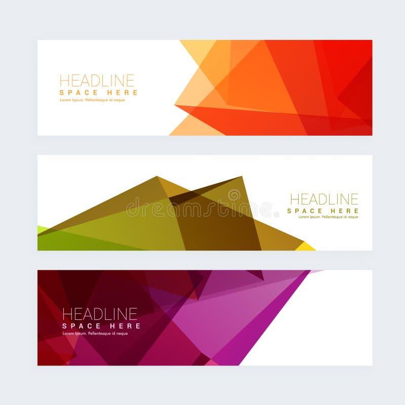 Ensemble géométrique coloré de trois en-têtes illustration libre de droits