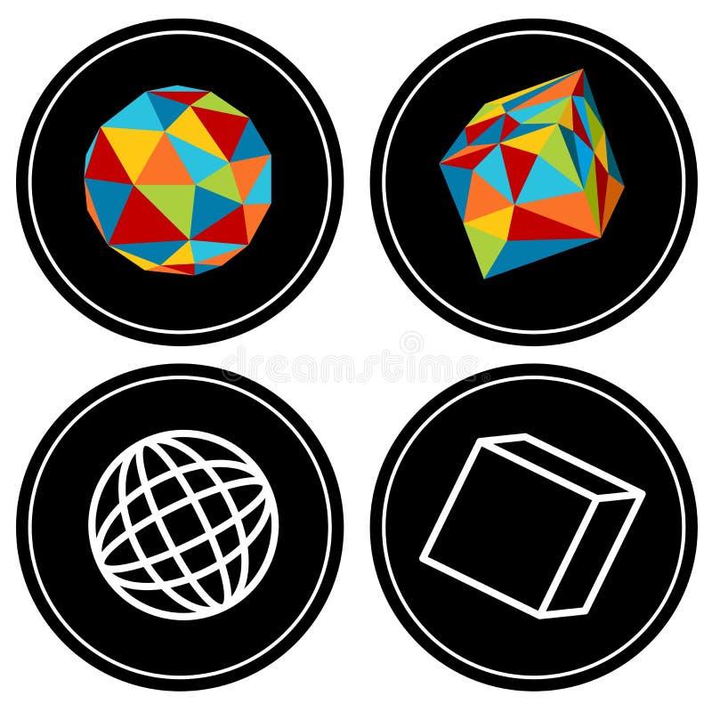 Ensemble géométrique d'icône de polygone illustration libre de droits