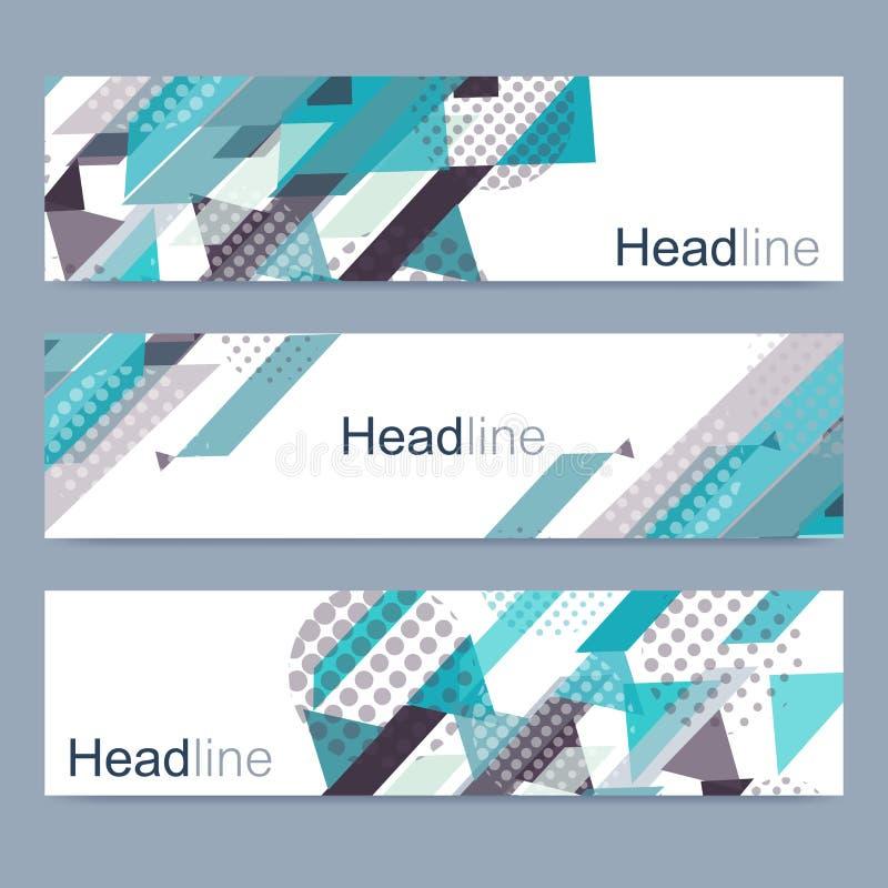 Ensemble géométrique de bannières modernes de vecteur Calibre abstrait de Web de bannière de conception Illustration de vecteur illustration libre de droits