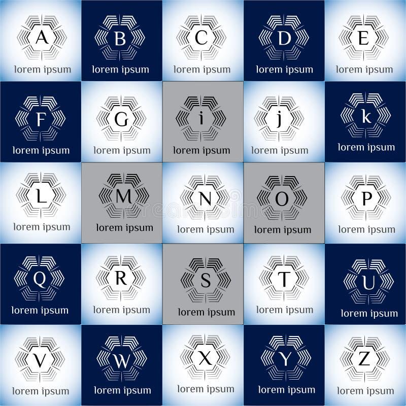 Ensemble géométrique de calibre de logo de vecteur de technologie illustration de vecteur