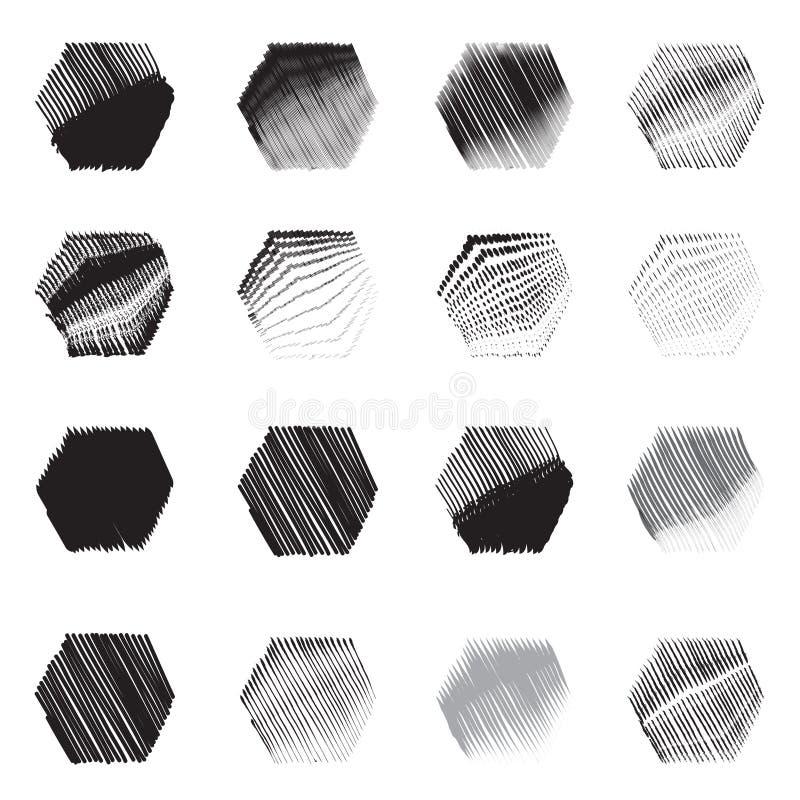 Ensemble géométrique de croquis d'icône de formes d'hexagone illustration libre de droits