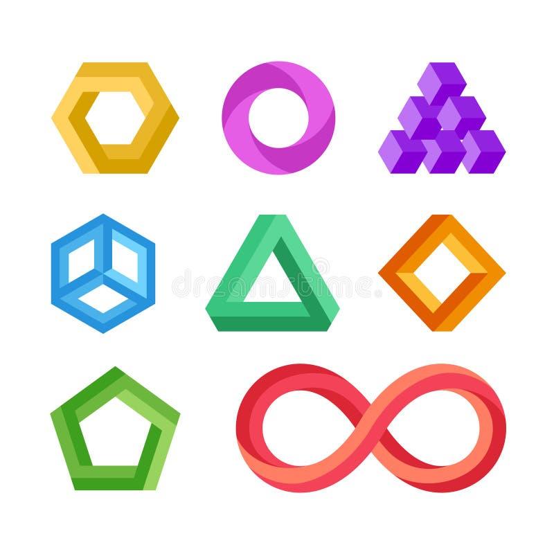 Ensemble géométrique impossible de vecteur de formes illustration libre de droits
