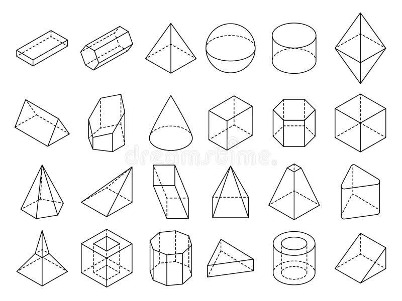 Ensemble géométrique isométrique abstrait de vecteur de formes d'ensemble 3d illustration de vecteur