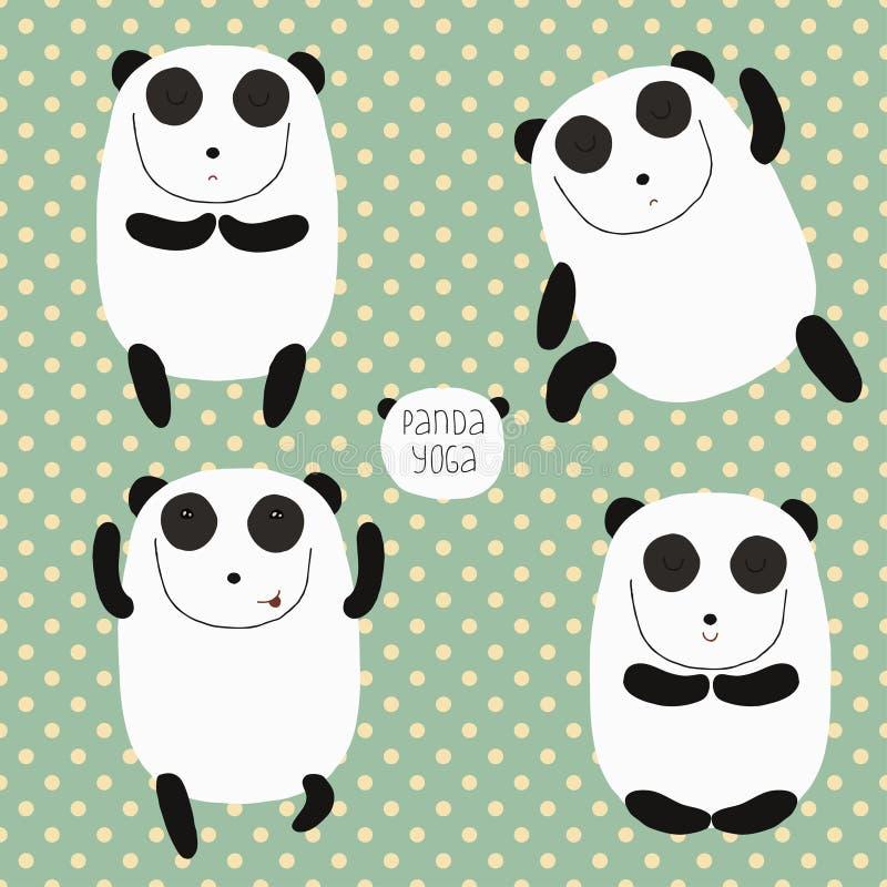 Ensemble gai avec le panda de bande dessinée. illustration de vecteur