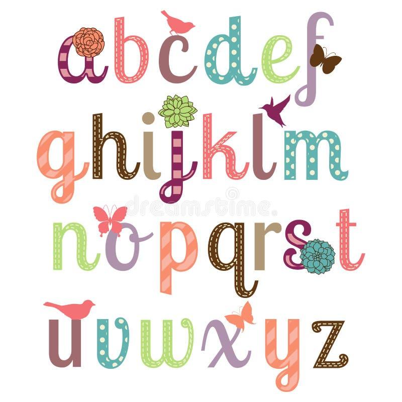 Ensemble Girly de vecteur d'alphabet illustration de vecteur
