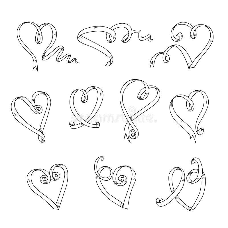 Ensemble graphique de coeurs de rubans Beaux éléments de rubans pour votre conception illustration libre de droits