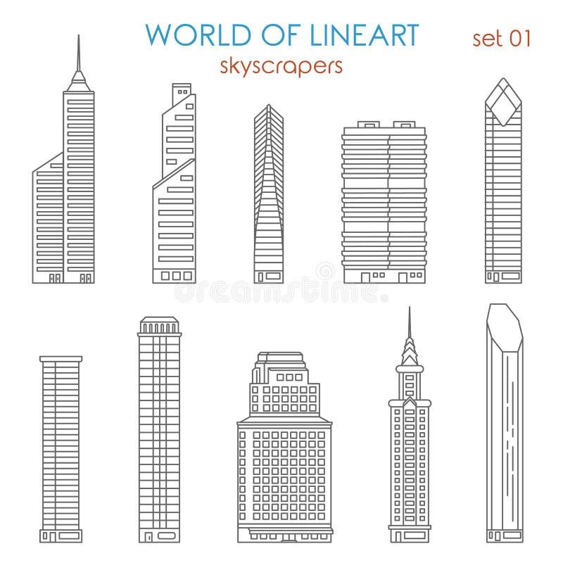 Ensemble graphique de vecteur de lineart de gratte ciel de for Architecture graphique