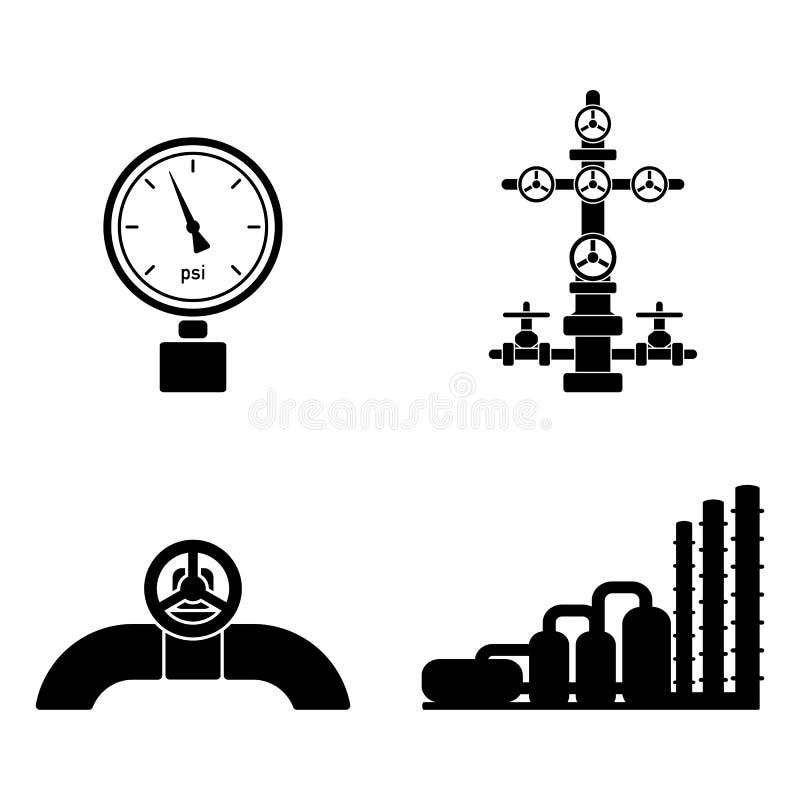 Ensemble graphique plat noir élégant d'isolat d'icônes de pétrole de vecteur illustration stock