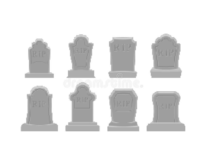 Ensemble grave d'art de pixel Bit de la tombe 8 Pierre tombale Halloween DÉCHIRURE Cemet illustration libre de droits