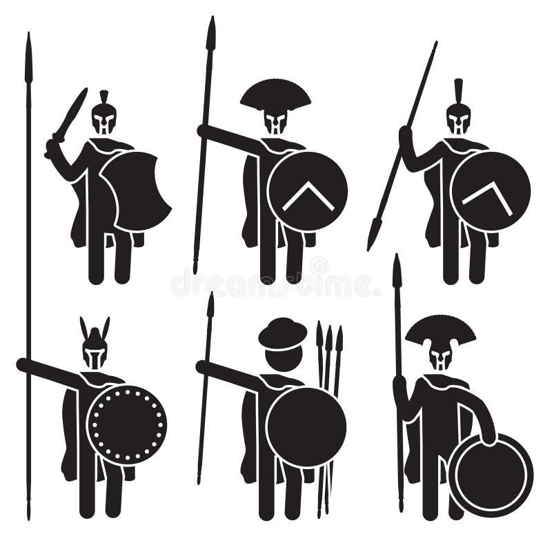 Ensemble grec d'icône de guerriers Spartans, phalange macédonien et d'autres Vecteur illustration stock
