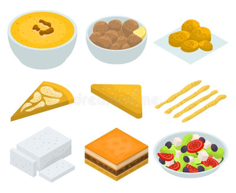 Ensemble grec d'icônes de cuisine, style isométrique illustration stock