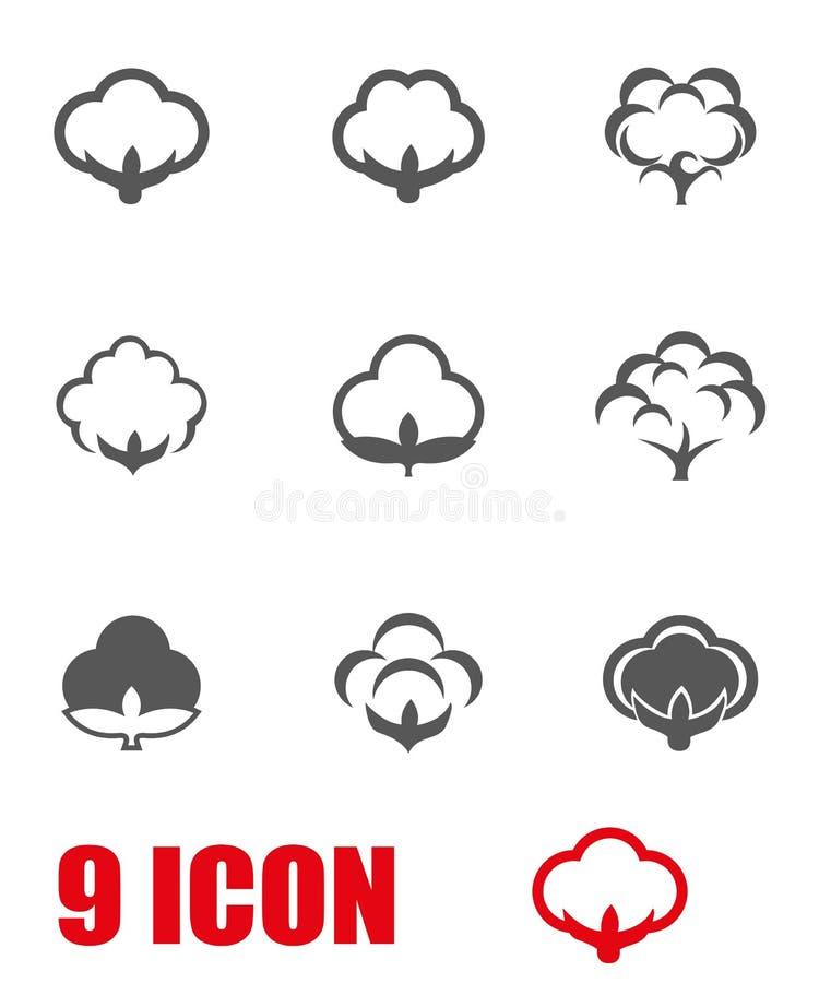Ensemble gris d'icône de coton de vecteur illustration stock