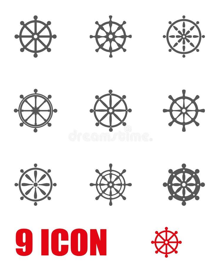 Ensemble gris d'icône de gouvernail de direction de vecteur illustration de vecteur