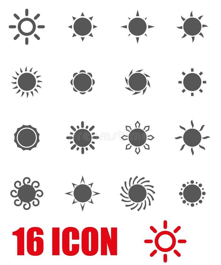 Ensemble gris d'icône du soleil de vecteur illustration libre de droits