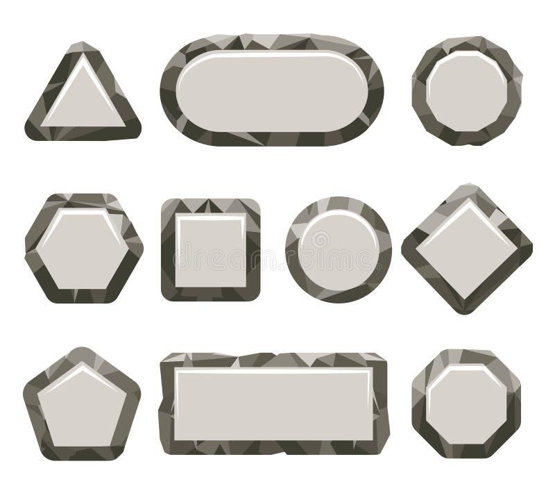 Ensemble gris de bouton de roche de jeu indépendant illustration stock