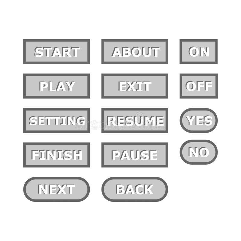 Ensemble gris simple de bouton de jeu illustration libre de droits