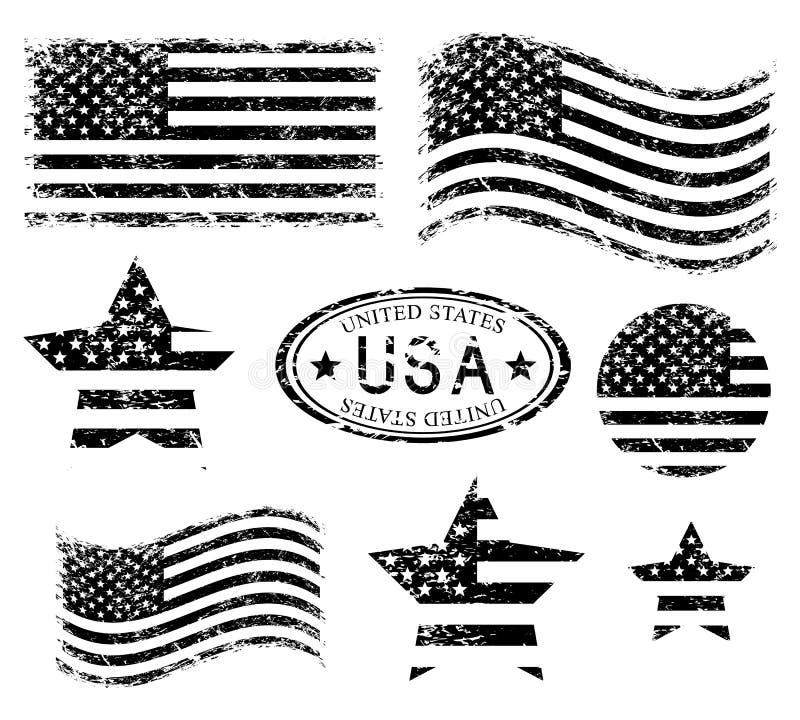 Ensemble grunge américain de drapeau des Etats-Unis, noir d'isolement sur le fond blanc, illustration illustration libre de droits
