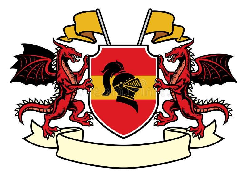 Ensemble héraldique de dragon dans le manteau classique du style de bras illustration de vecteur