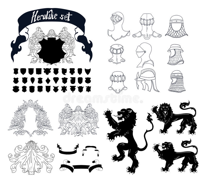 Ensemble héraldique de vecteur illustration stock