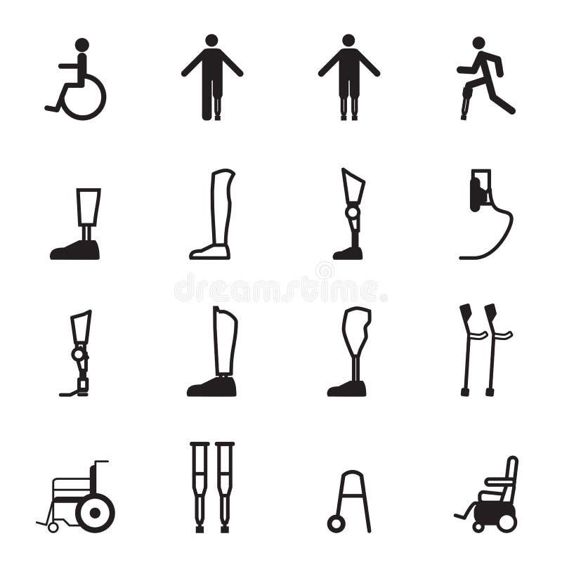 Ensemble handicapé d'icône de prothèse illustration libre de droits