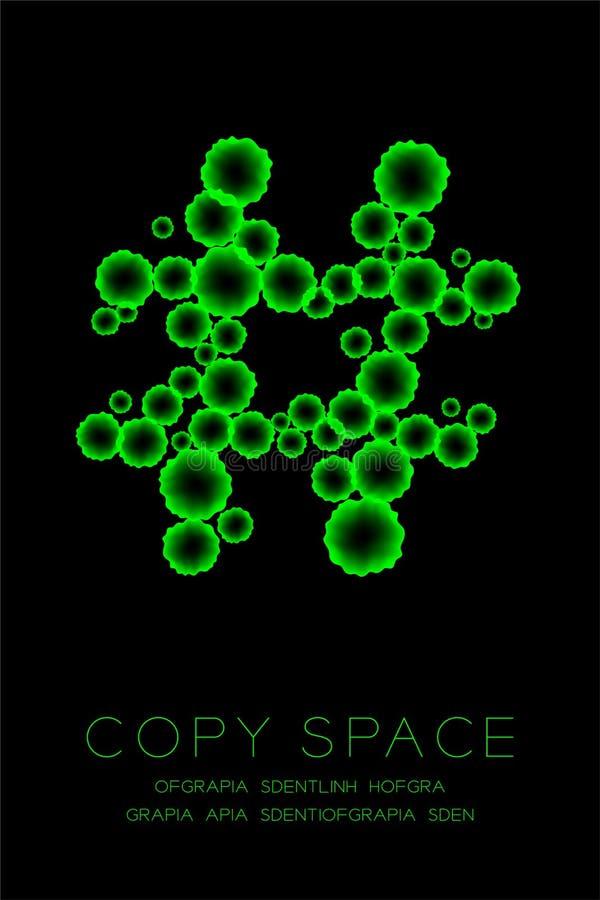Ensemble haut étroit de cellules de la maladie de microscope de symbole, couleur verte de signe de Hashtag illustration stock