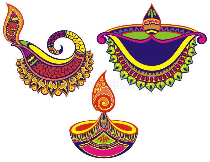 Ensemble heureux coloré de Diwali de lampes illustration stock