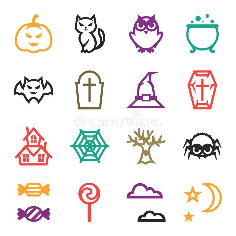 Ensemble heureux d'icône de Halloween dans le style plat de conception illustration stock
