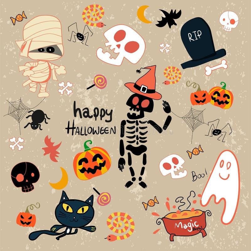 Ensemble heureux de bande dessinée de clipart (images graphiques) de Halloween illustration stock