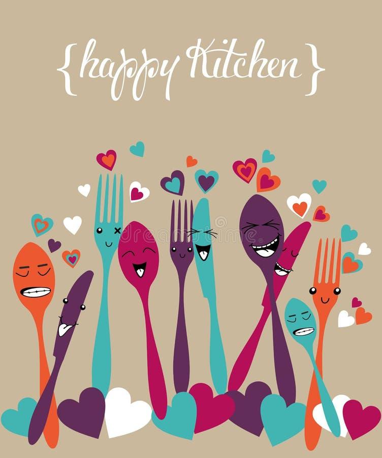 Ensemble heureux de bande dessinée d'argenterie de cuisine illustration de vecteur