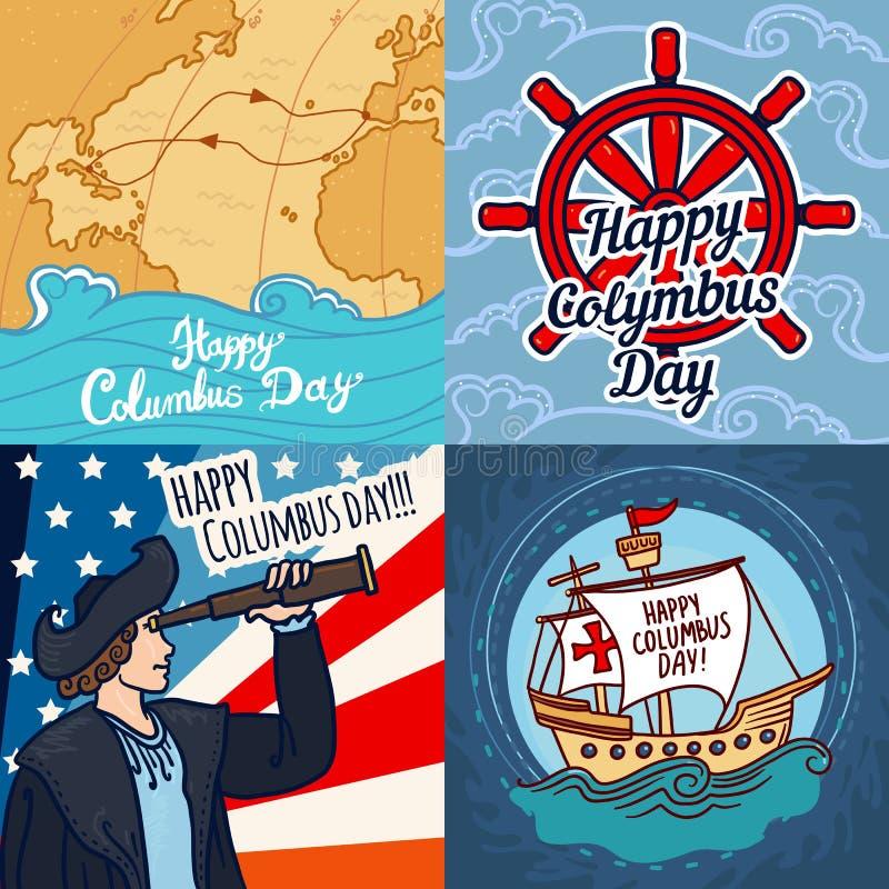 Ensemble heureux de bannière de jour de Columbus, style tiré par la main illustration stock