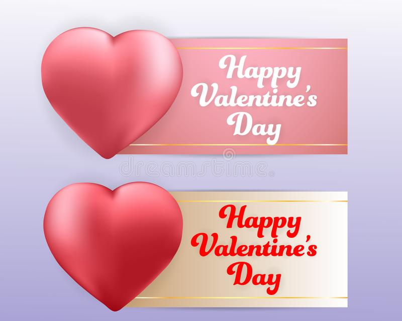 Ensemble heureux de bannières de fond de ballons de coeur de jour de valentines papier peint, invitation, illustration de vecteur