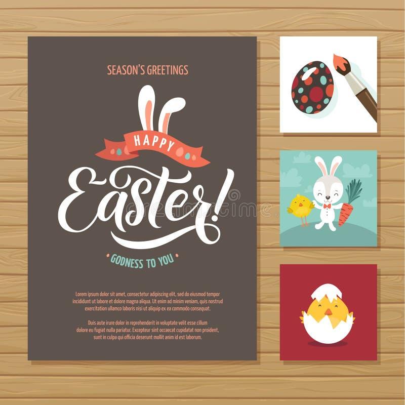 Ensemble heureux de carte de voeux de calligraphie de Pâques Lettrage de main carde l'espace de papier de vacances de salutations illustration de vecteur